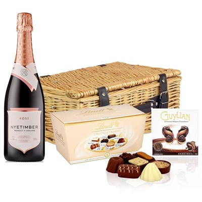 Nyetimber Rose English Sparkling Wine 75cl And Chocolates Hamper