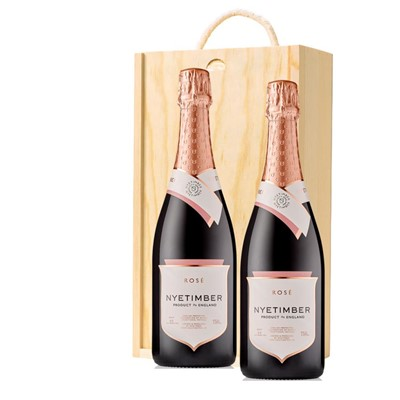 Nyetimber Rose English Sparkling Wine 75cl Twin Pine Wooden Gift Box (2x75cl)