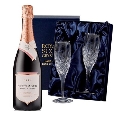 Nyetimber Rose English Sparkling Wine 75cl with 2 Royal Scot Edinburgh Flutes