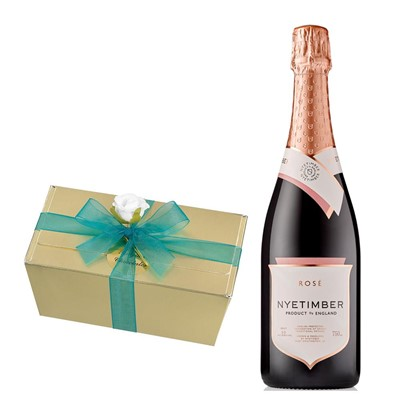 Nyetimber Rose English Sparkling Wine 75cl With Selection Of Milk, White And Dark Belgian Chocolates 460g