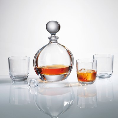 This set of Orbit decanter and six whisky tumblers will perfectly match your tableware - This whisky decanter capacity is 700ml Interesting design - Novel and superb glassware gift idea as it comes in a lovely Gift box - Dishwasher safe however hand wash recommended to preserve shine and brilliance -Part of Bohemia crystal collection