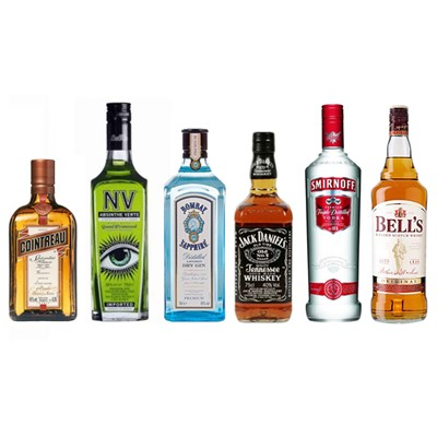 Spirts Party Pack Case of Six 70cl 1x Bombay Sapphire Gin 1x Smirnoff Red 1x Bells 8 year Old 1x Jack Daniels 1x La Fee Absinthe Verte NV 38 1x Cointreau. All Bulk Packed in a single case . Price includes free UK Mainland Delivery, and Exports and international delivery available.