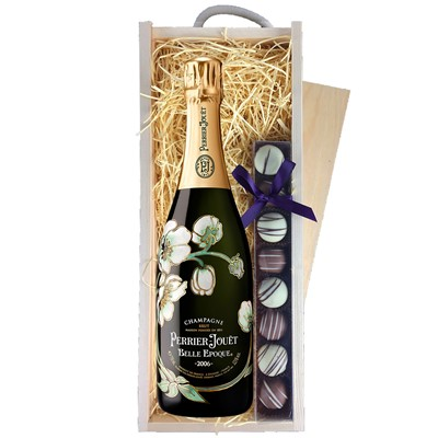 Buy Vintage Champagne a single bottle of Perrier Jouet Belle Epoque 2008 75cl Champagne & a single strip of fine Hand Made Truffles 110g Presented in a wooden gift box with sliding lid and lined with wood wool with a Gift Card for your personal message. . Price includes free UK Mainland Delivery, and Exports and international delivery available.