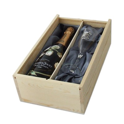 A Vintage Champagne 2011 including a Perrier Jouet Glass presented in a wooden gift box