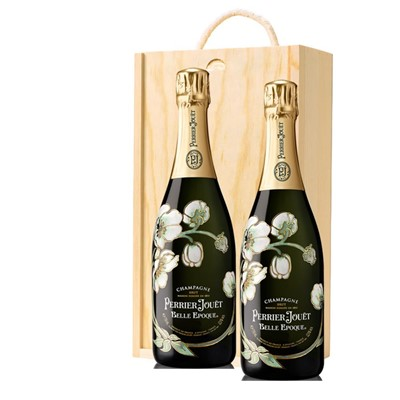 Perrier Jouet Belle Epoque Brut 2012 Vintage Champagne 75cl Twin Pine Wooden Gift Box (2x75cl)