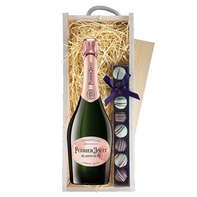 Perrier Jouet Blason Rose Champagne 75cl & Champagne Truffles, Wooden Box