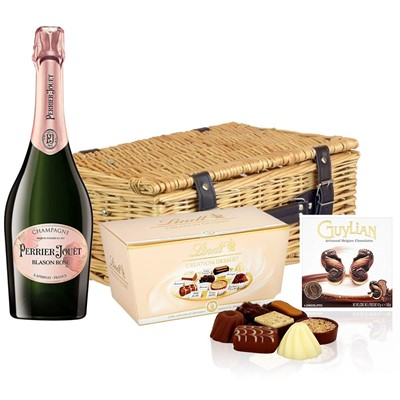 Perrier Jouet Blason Rose Champagne 75cl And Chocolates Hamper