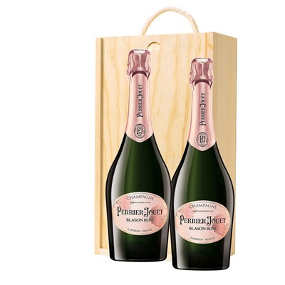 Perrier Jouet Blason Rose Champagne 75cl Twin Pine Wooden Gift Box (2x75cl)