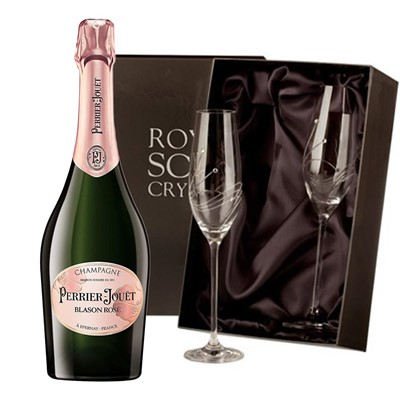Perrier Jouet Blason Rose Champagne 75cl with 2 Royal Scot Edinburgh Flutes