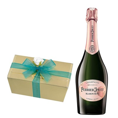 Perrier Jouet Blason Rose Champagne 75cl With Selection Of Milk, White And Dark Belgian Chocolates 460g