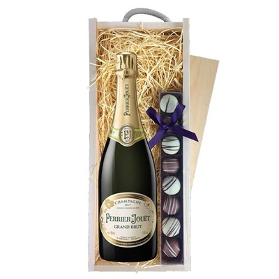 Perrier Jouet Grand Brut Champagne 75cl & Champagne Truffles, Wooden Box