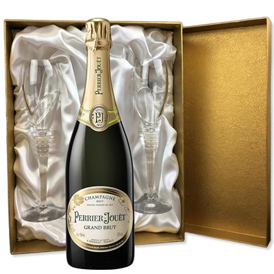 Perrier Jouet Grand Brut Champagne 75cl in Gold Presentation Set With Flutes