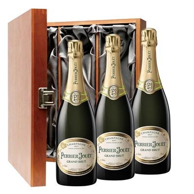 Perrier Jouet Grand Brut Champagne 75cl Three Bottle Luxury Gift Box