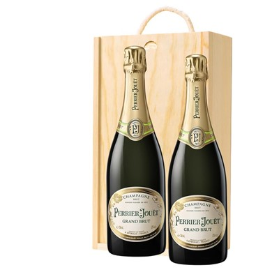 Perrier Jouet Grand Brut Champagne 75cl Twin Pine Wooden Gift Box (2x75cl)