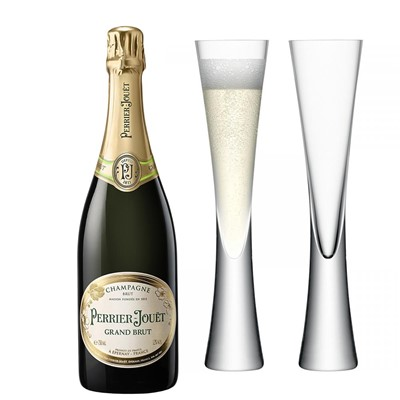 Perrier Jouet Grand Brut Champagne 75cl with LSA Flutes