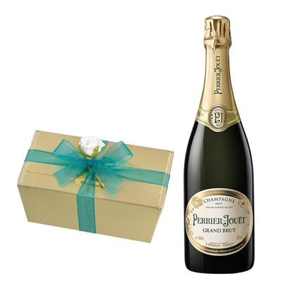 Perrier Jouet Grand Brut Champagne 75cl With Selection Of Milk, White And Dark Belgian Chocolates 460g