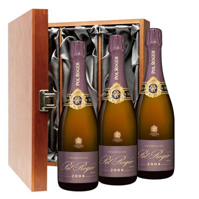 Pol Roger 2008 Brut Rose Vintage Champagne 75cl Three Bottle Luxury Gift Box