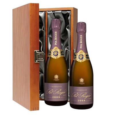 Pol Roger 2008 Brut Rose Vintage Champagne 75cl Twin Luxury Gift Boxed (2x75cl)