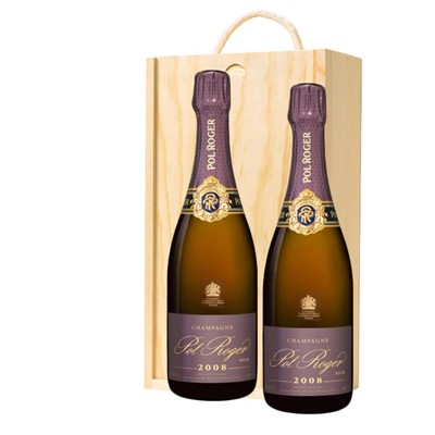 Pol Roger 2008 Brut Rose Vintage Champagne 75cl Twin Pine Wooden Gift Box (2x75cl)