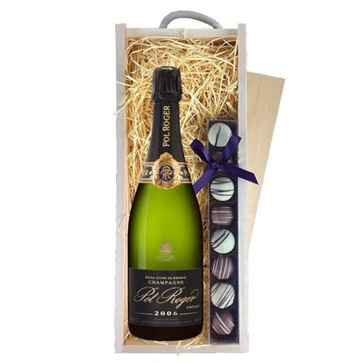 Pol Roger 2009 Brut Vintage Champagne 75cl & Champagne Truffles, Wooden Box