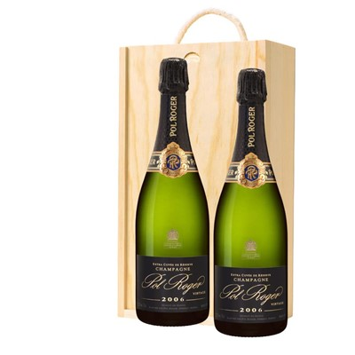 Pol Roger 2009 Brut Vintage Champagne 75cl Twin Pine Wooden Gift Box (2x75cl)