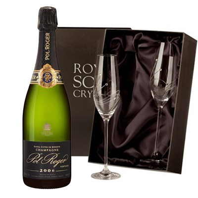 Pol Roger 2012 Brut Vintage Champagne 75cl with 2 Royal Scot Edinburgh Flutes