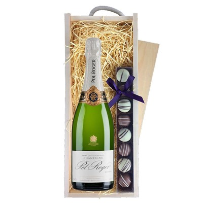 Pol Roger Brut Reserve Champagne 75cl & Champagne Truffles, Wooden Box