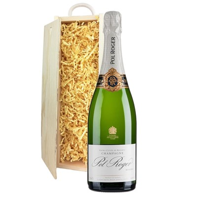 Pol Roger Brut Reserve Champagne 75cl In Pine Gift Box