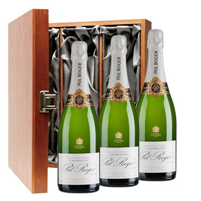 Pol Roger Brut Reserve Champagne 75cl Three Bottle Luxury Gift Box