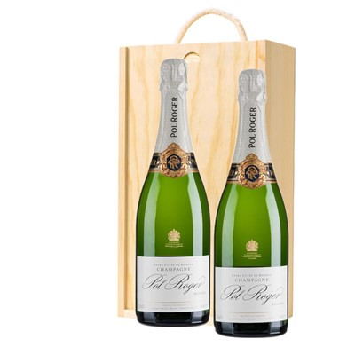 Pol Roger Brut Reserve Champagne 75cl Twin Pine Wooden Gift Box (2x75cl)