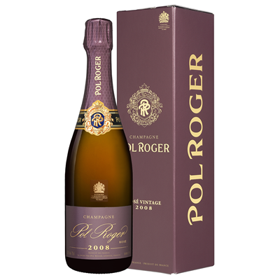 Buy a single bottle of Pol Roger Brut Vintage Rose 2008 Champagne 75cl Presented in a stylish Gift Box with Gift Card for your personal message.  A full bodied vintage champagne this cuvee is a delight to the eye with it's delicate salmon pink tones to the nose with it's fragrant bouquet of red summery fruits and to the palate with it's sensuous flavours of ripe Pinot Noir. . Price includes free UK Mainland Delivery, and Exports and international delivery available.