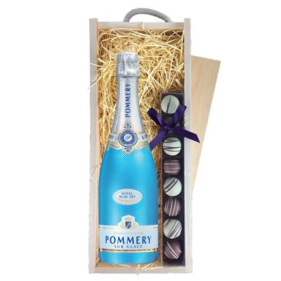 Pommery Blue Sky Champagne 75cl & Champagne Truffles, Wooden Box