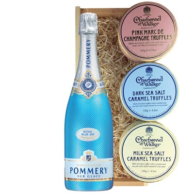 Pommery Blue Sky Champagne 75cl And Charbonnel Trio of Truffles Gift Box