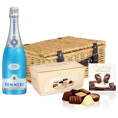 Pommery Blue Sky Champagne 75cl And Chocolates Hamper