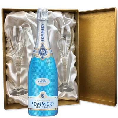 Pommery Blue Sky Champagne 75cl in Gold Presentation Set With Flutes
