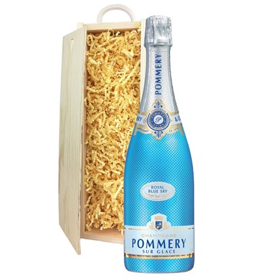 Pommery Blue Sky Champagne 75cl In Pine Gift Box