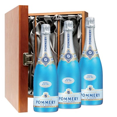 Pommery Blue Sky Champagne 75cl Three Bottle Luxury Gift Box