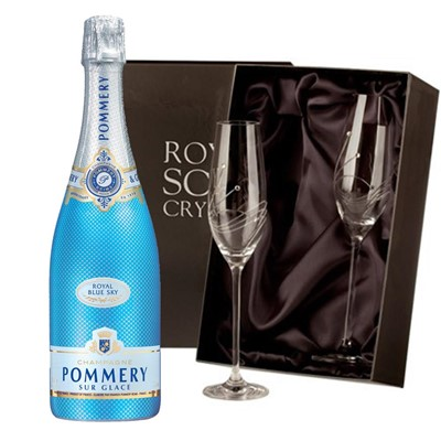 Pommery Blue Sky Champagne 75cl with 2 Royal Scot Edinburgh Flutes