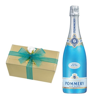 Pommery Blue Sky Champagne 75cl With Selection Of Milk, White And Dark Belgian Chocolates 460g