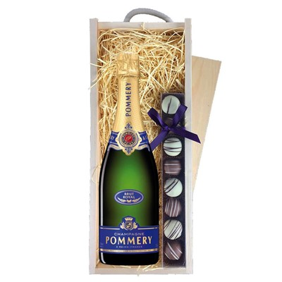 Pommery Brut Royal Champagne 75cl & Champagne Truffles, Wooden Box