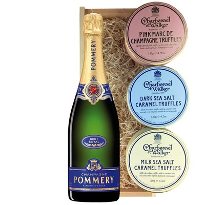 Pommery Brut Royal Champagne 75cl And Charbonnel Trio of Truffles Gift Box