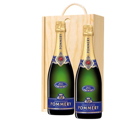 Pommery Brut Royal Champagne 75cl Twin Pine Wooden Gift Box (2x75cl)