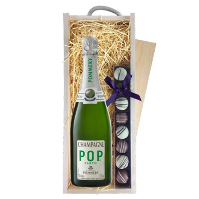 Pommery Pop Earth Champagne 75cl & Champagne Truffles, Wooden Box