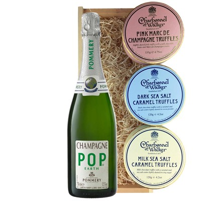Pommery Pop Earth Champagne 75cl And Charbonnel Trio of Truffles Gift Box