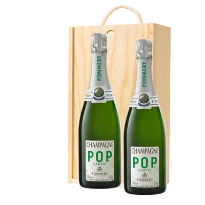 Pommery Pop Earth Champagne 75cl Twin Pine Wooden Gift Box (2x75cl)