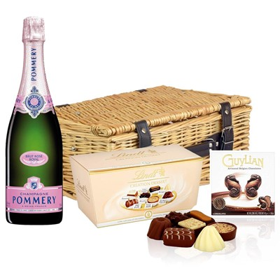 Pommery Rose Brut Champagne 75cl And Chocolates Hamper