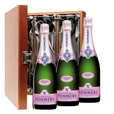 Pommery Rose Brut Champagne 75cl Three Bottle Luxury Gift Box