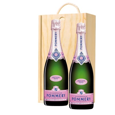 Pommery Rose Brut Champagne 75cl Twin Pine Wooden Gift Box (2x75cl)