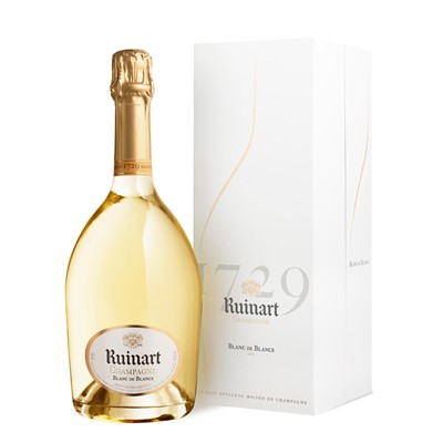 Ruinart Blanc de Blanc Champagne made in the pure Ruinart Champagne tradition exclusively from the Chardonnay grape Ruinart Blanc de Blancs non vintage champagne reflects perfect harmony. Striking luminosity is enhanced by the clear glass bottle a replica from the 18th Century. . Price includes free UK Mainland Delivery, and Exports and international delivery available.