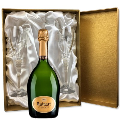 Ruinart Brut Champagne 75cl in Gold Presentation Set With Flutes